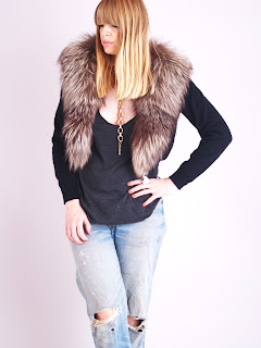 Vintage 1950's black cashmere sweater with brown fox fur collar