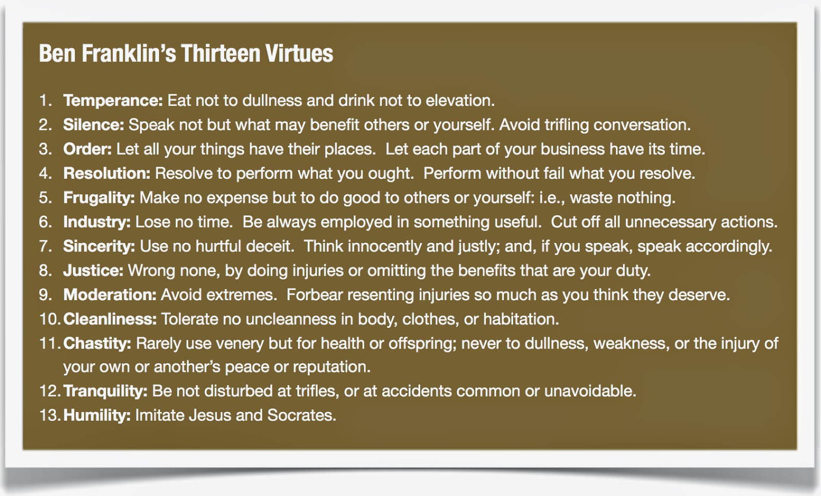 Ethics and virtues: Benjamin Franklin's method