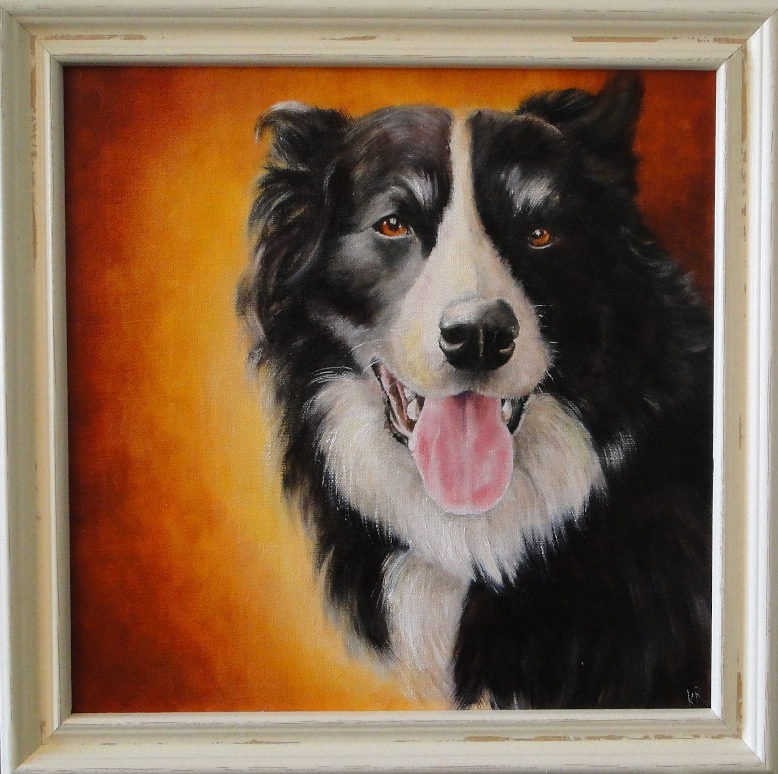 oil painting of a border collie in shabby chic frame
