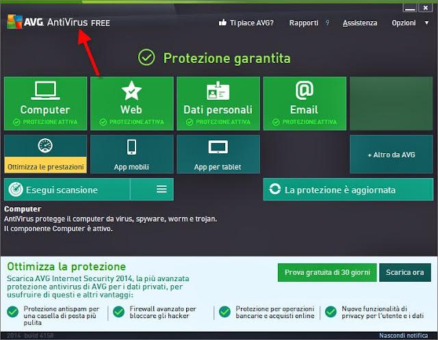 AVG AntiVirus Free ripristinato correttamente