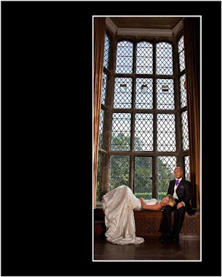 Relaxed bride with her husband at Redworth Hal