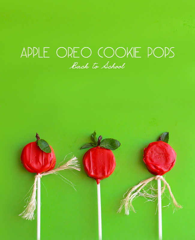 Apple Oreo Cookie Pops - Back to School