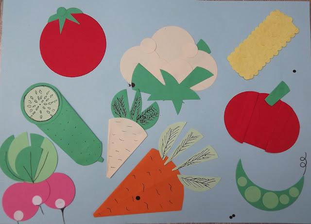 origami z kółek, warzywa