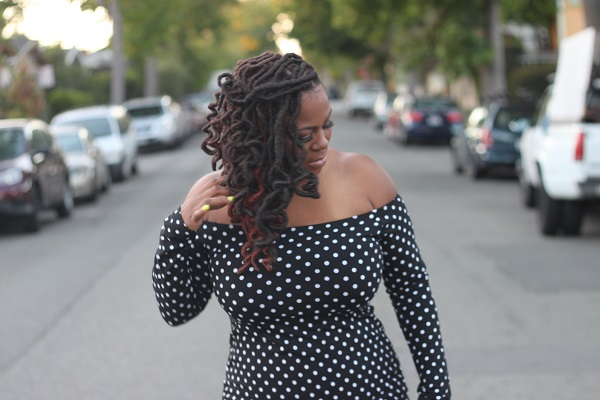 ASOS off shoulder polka dot dress, yellow strappy heels, Plus size bloggers