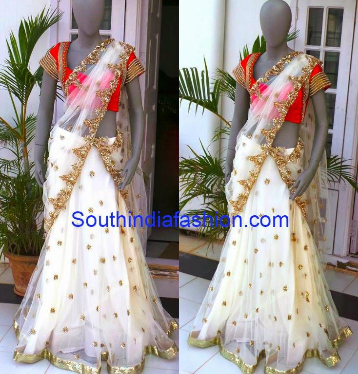white half saree