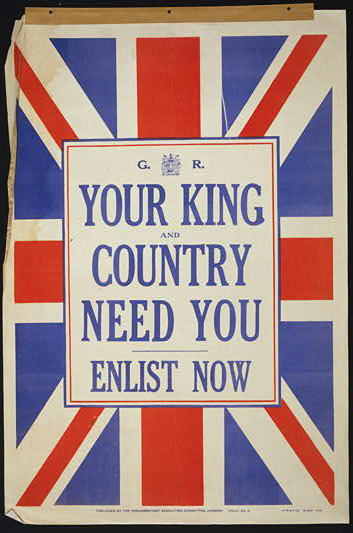 war, military, vintage, vintage posters, graphic design, free download, retro prints, classic posters, propaganda, Your King and Country Need You, Enlist Now - Vintage Military War Poster