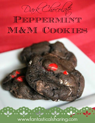 Dark Chocolate Peppermint M&M Cookies | Decadent dark chocolate paired with white chocolate peppermint M&Ms make for a cookie you won't want to share! #recipe #fbcookieswap
