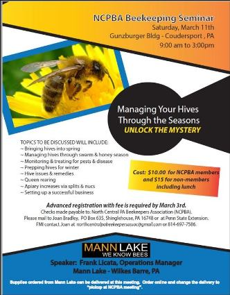 3-11 NCPBA Beekeeping Seminar