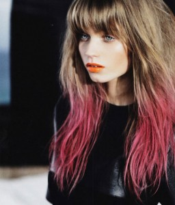 Pink dip dye hair 256x300 Fall hair trends 2012