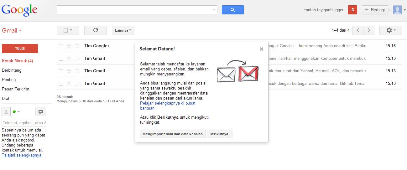 ... panduan yang sudah disediakan oleh gmail saat email gmail baru jadi