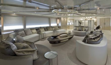 sofas in saloon of darlings danama super yacht boat