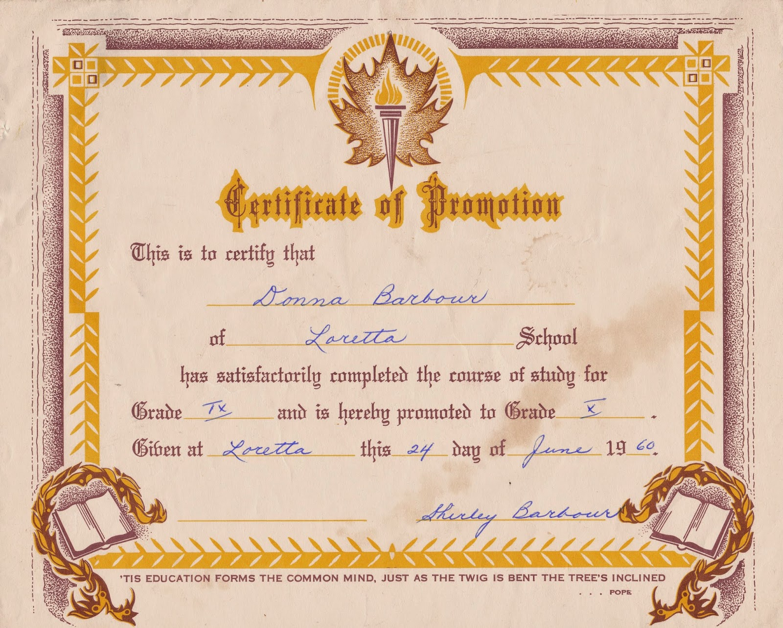 History Of Alma Lauretta Lauretta School Certificate Of Promotion