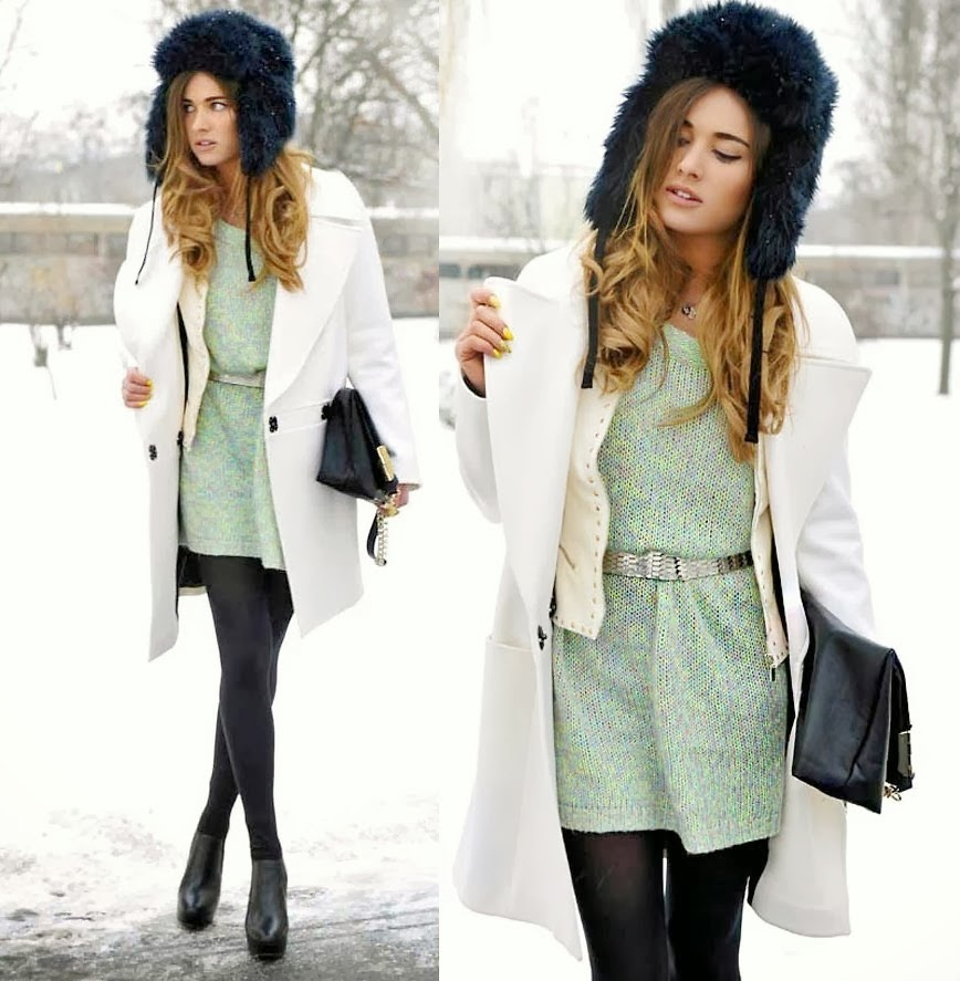 The Combination of White Coat with Black Clutch Bag and Fur Hat, Pantyhose, Leather Boot with Short Light Green Dress