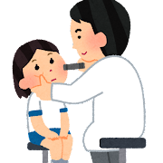 眼科検診のイラスト(学校の健康診断)
