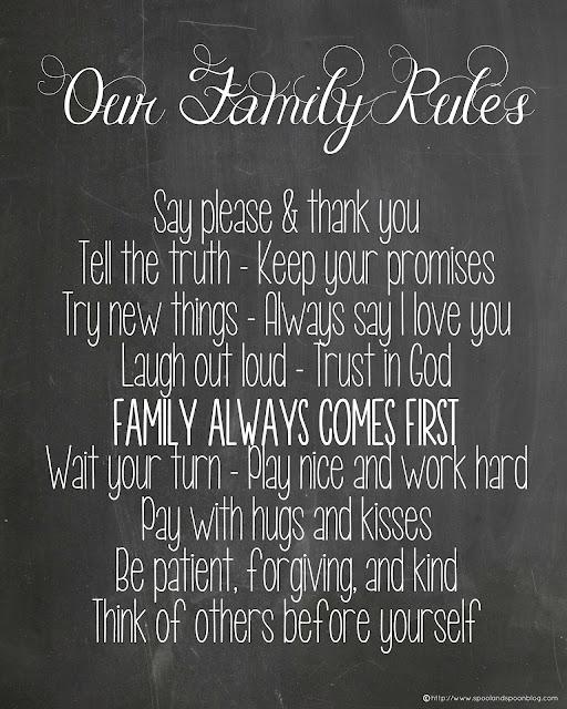 Family Rules Chalkboard Printable by http://www.spoolandspoonblog.com