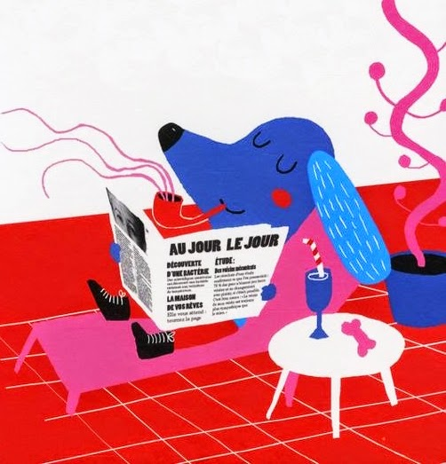 relaxed smoking dog reading newspaper illustration by Madalena Matoso