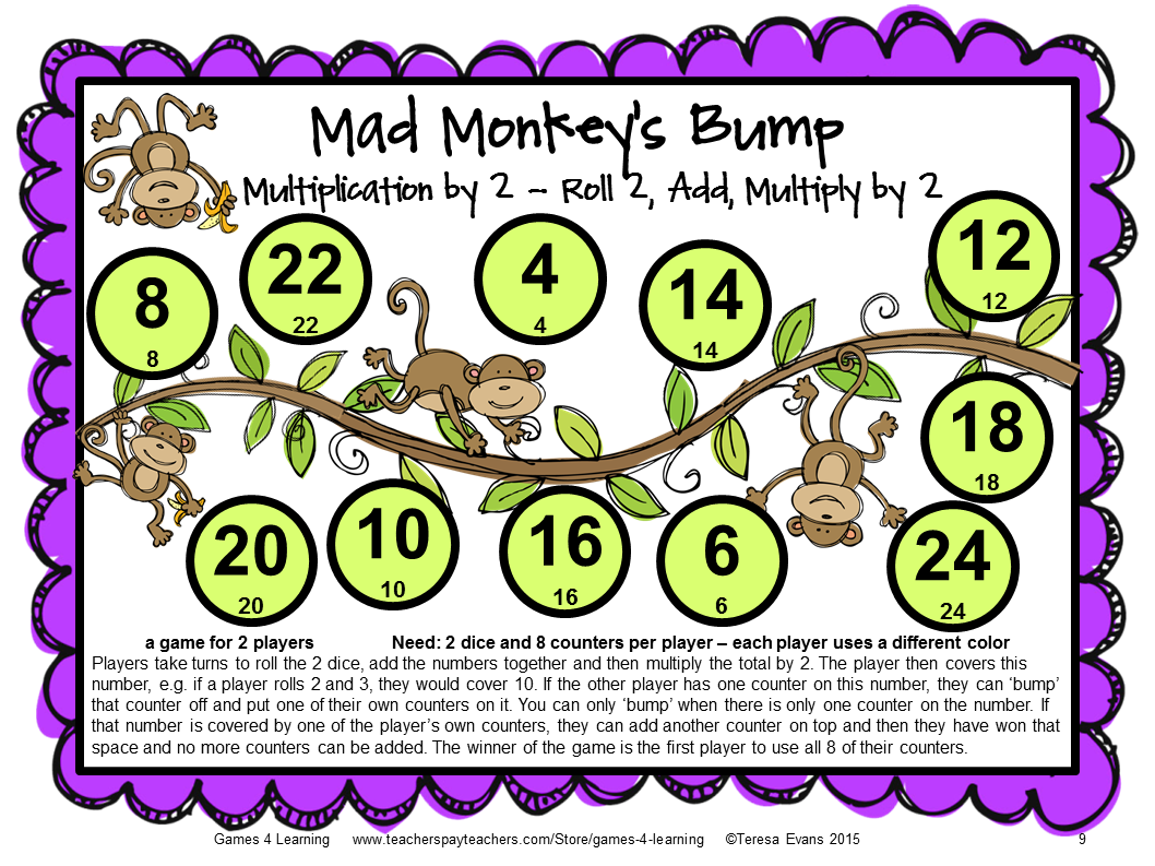 Fun Games 4 Learning My Products – Multiplication Games Worksheet