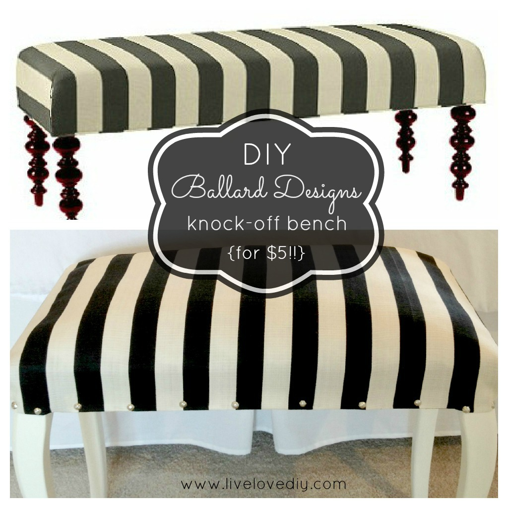 DIY Striped Upholstered Bench