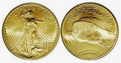 """коллекционная монета """"двойной орел"""" США"""