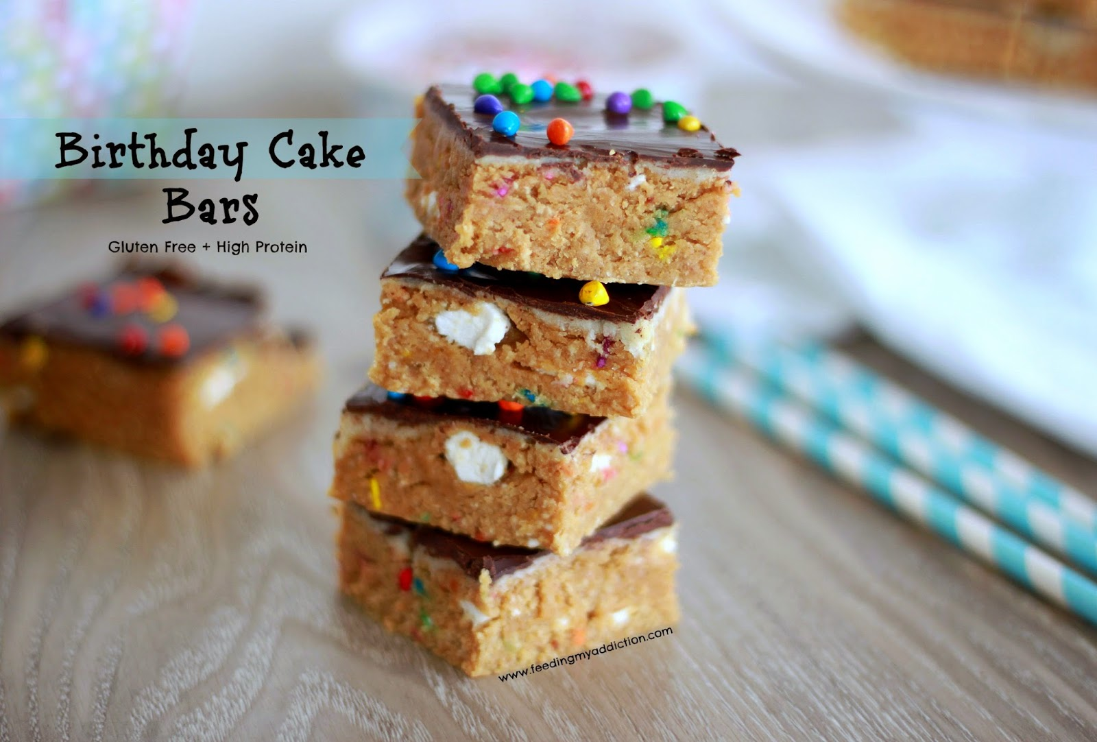 Guilt Free Birthday Cake Bars