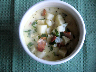 parsnip chowder with bacon and parsley