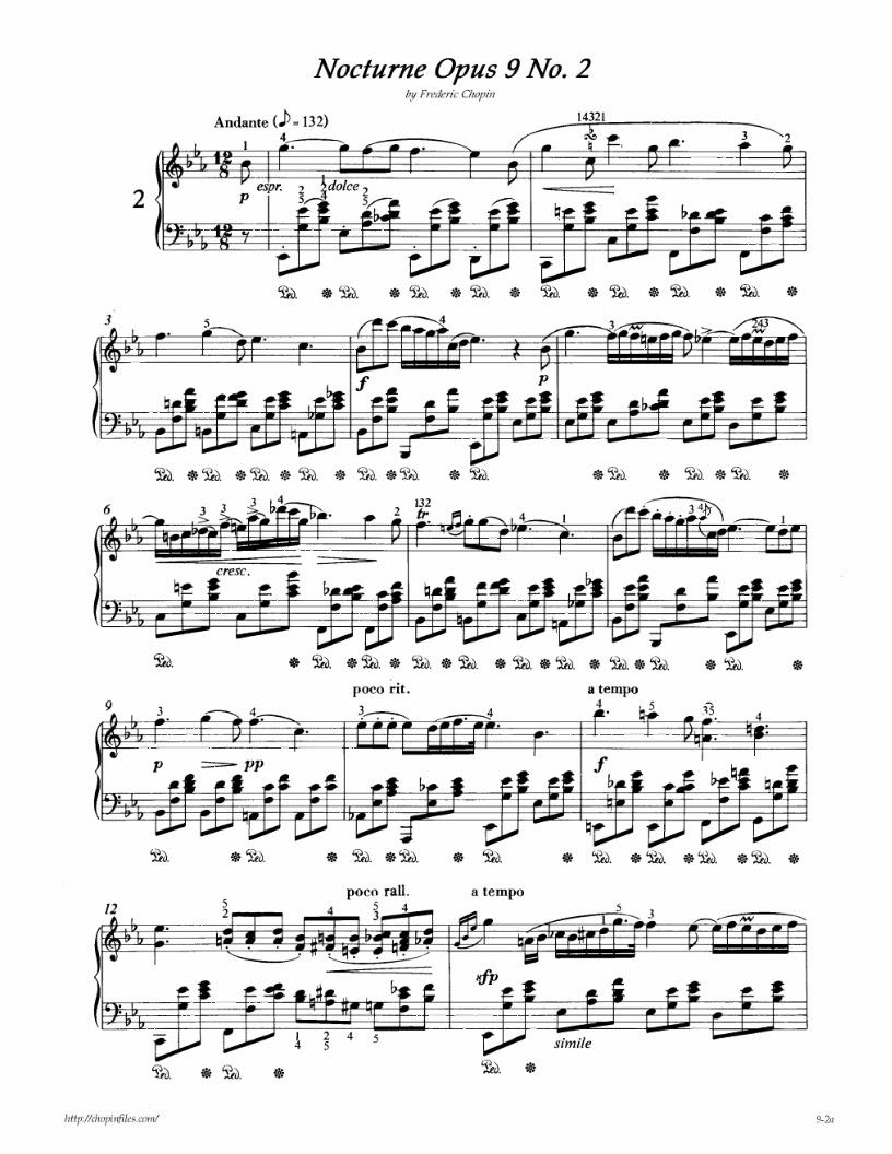 chopin's nocturne op 9 no 2 in An urtext edition of frederic chopin's nocturne in e flat op9 no2 for piano solo , as edited by ewald zimmermann and fingering by hans-martin thepold.