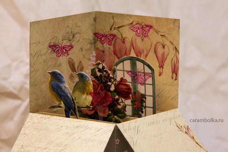 Мастер-класс по созданию интерактивной открытки (pop-up card box). Материалы из магазина www.scrapbookshop.ru Скрапбукшоп.