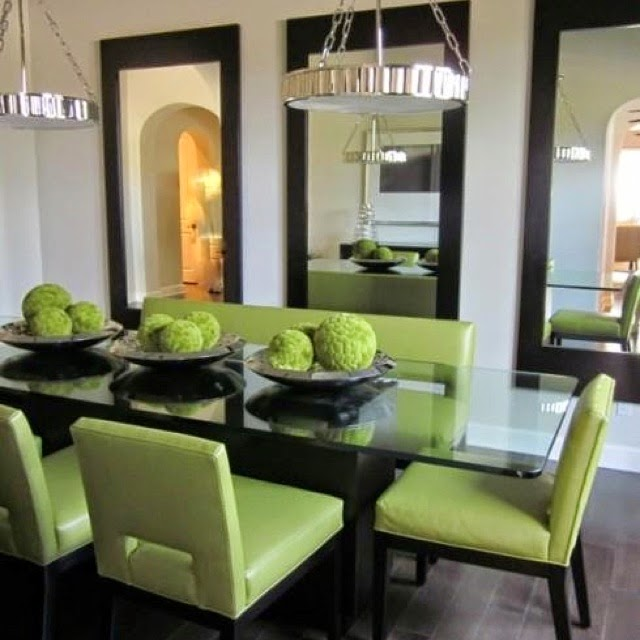 dining room mirrors, windowless dining room, 3 large mirrors