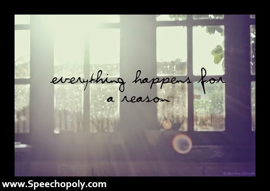 """Everything happens for a reason."" ~ Unknown; Picture of sun rays coming in a window. www.speechopoly.com"