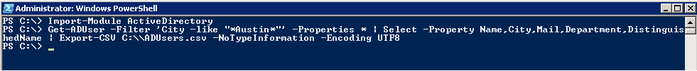 AD PowerShell: Get-ADUser - Export Selected properties to CSV file