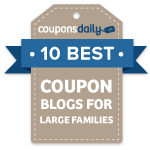 Named One of the Ten BEST Coupon Blogs for Large Families
