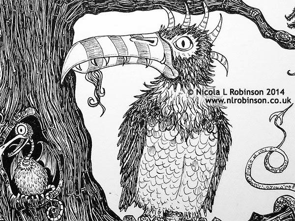 Tree of monster birds illustration pen and ink - © Nicola L Robinson 2014 www.nlrobinson.co.uk