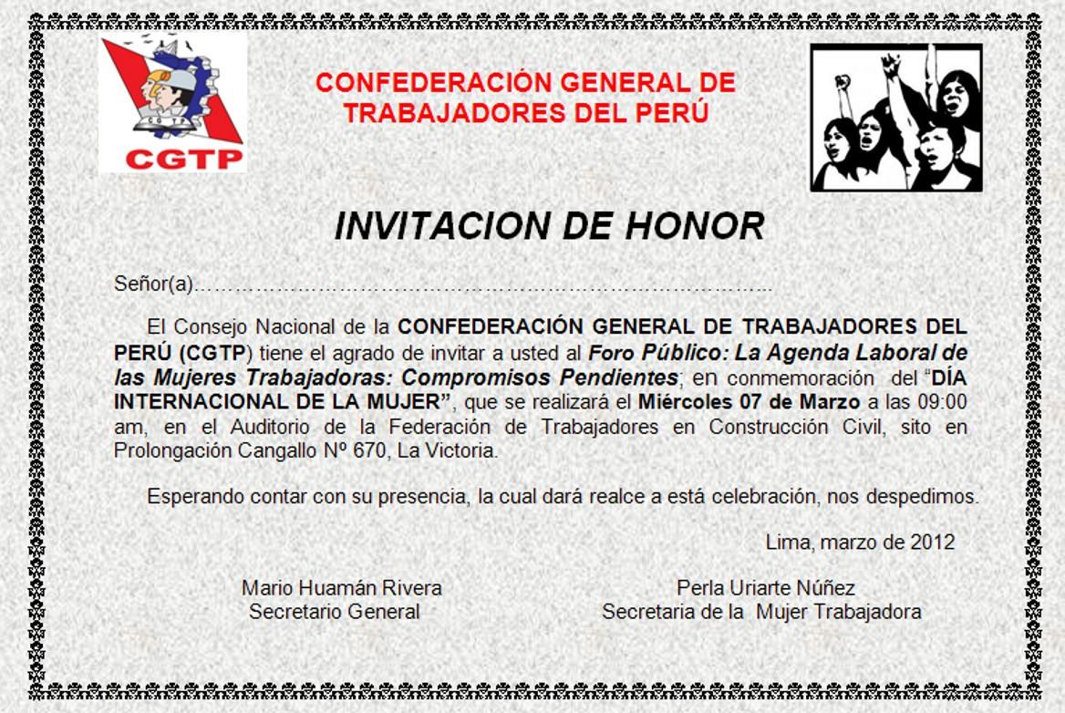 DEPARTAMENTO NACIONAL DE LA MUJER TRABAJADORA DE LA CGTP: Foro ...