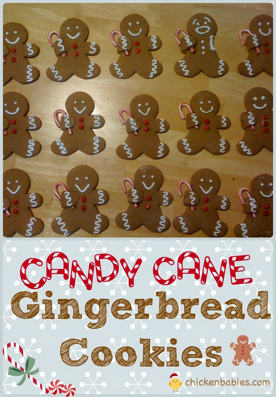 cute gingerbread cookies! These little guys are holding a candy cane, but what else could you have them hold? hmmm . . .