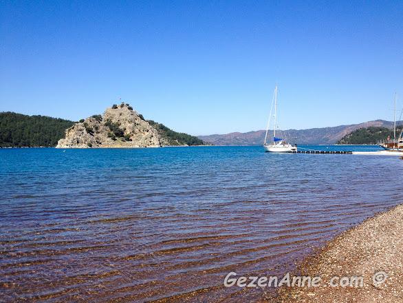 Kızkumu sahili ve berrak denizi, Orhaniye Marmaris