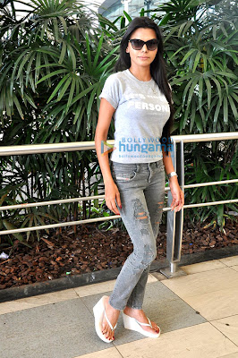 Sherlyn Chopra snapped outside the Mumbai International Airport