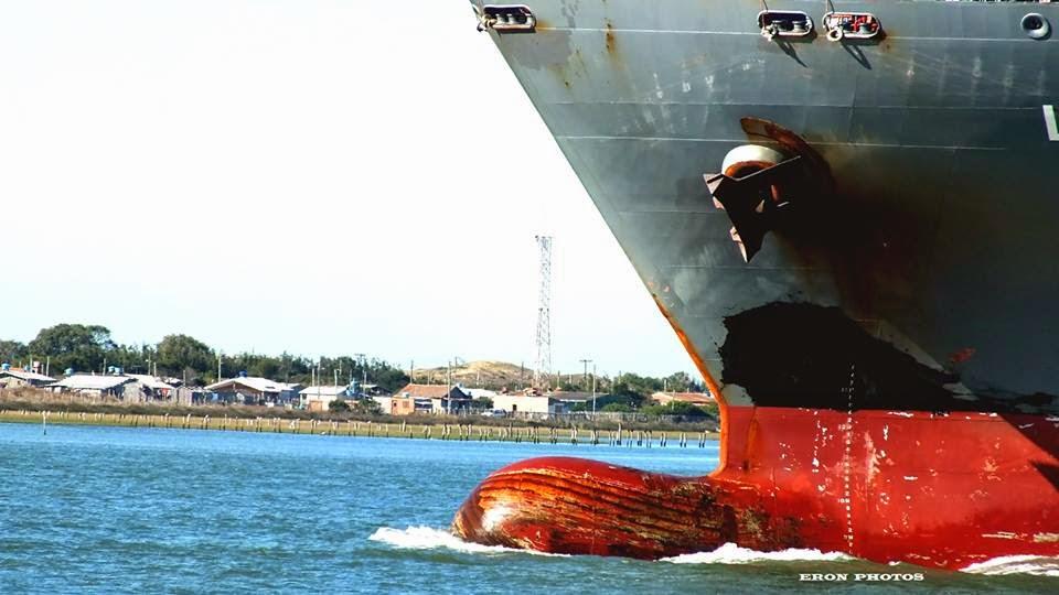 Bela imagem do navio na barra