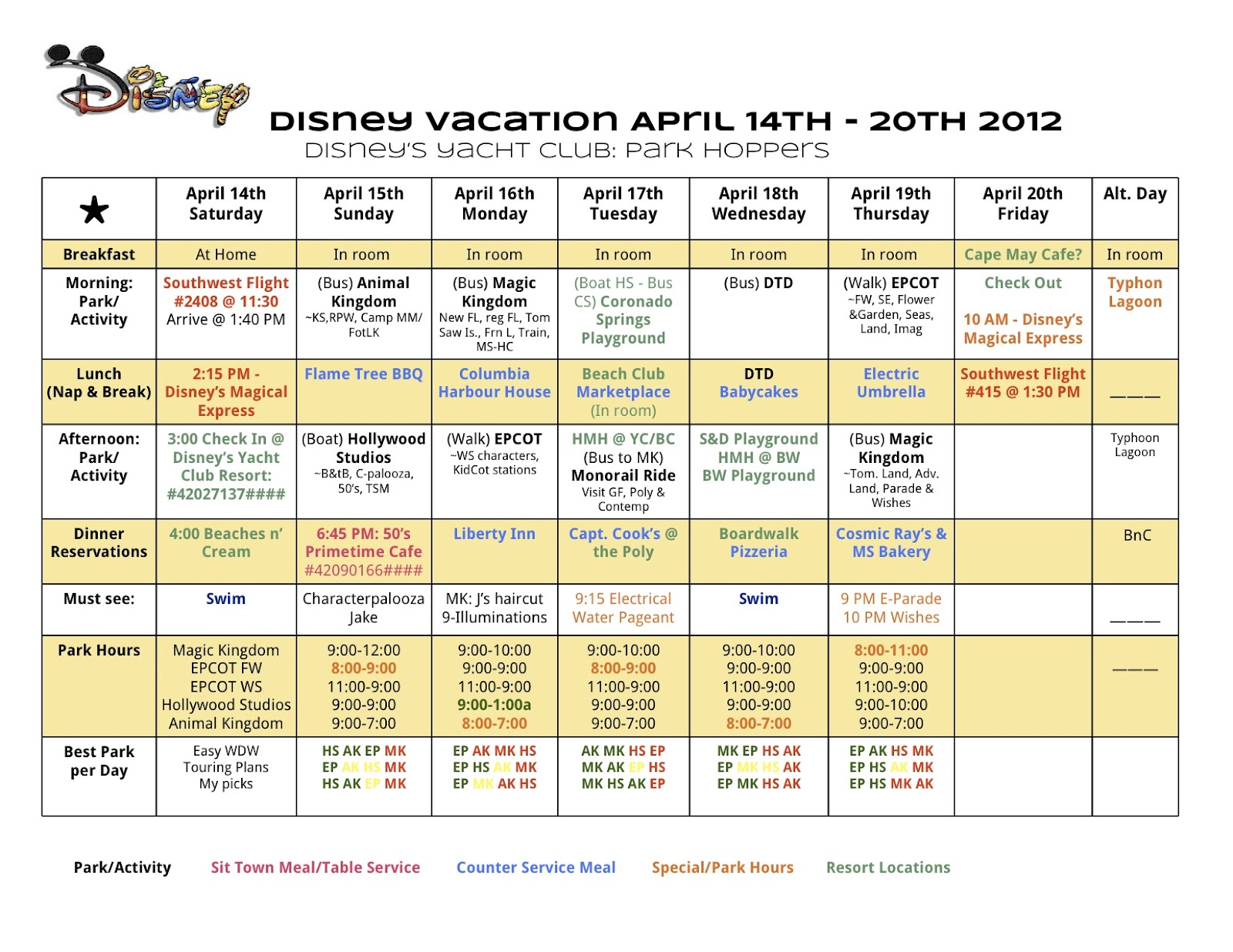 Disney World Printable Planning Charts