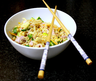 A grat recipe for using up leftovers to create a quick and delicious meal - vegetable and ham egg fried rice