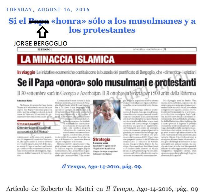 Bergoglio inclinado ante el Mundo.