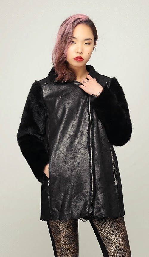 Shine Black Fur Sleeves Mouton Jacket