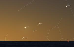 Alineación Planetaria visible al atardecer
