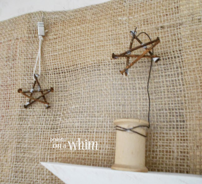 Rusty Nail Stars and a Vintage Spool Hook | Denise on a Whim