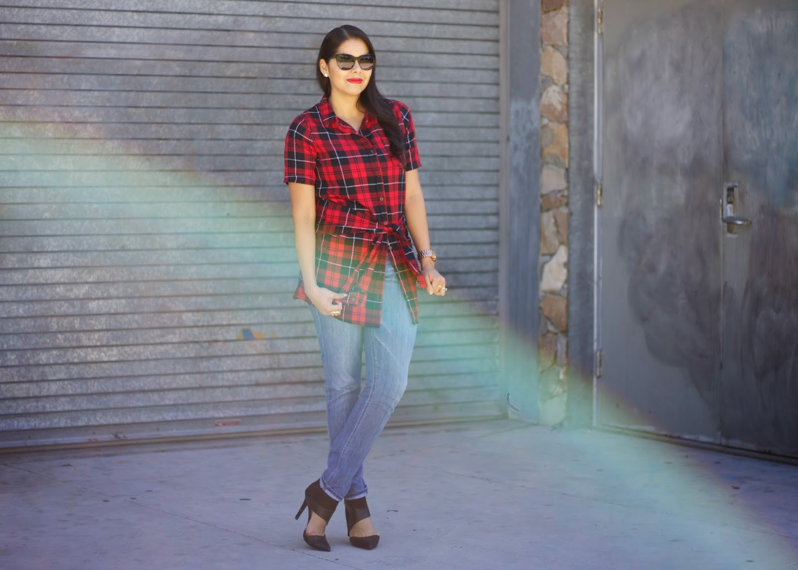 How to wear Plaid and Jeans, Plaid for Fall 2014, Edgy Fall 2014, Forever 21 plaid shirt,how to wear red plaid, f21 blogger, Hudson gia jeans, black cateye sunnies, san diego fashion blogger, how to wear red plaid for Fall, how to wear red plaid in winter