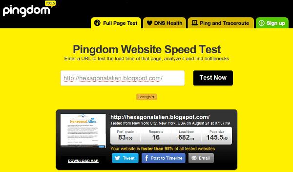 Test de velocidad de Pingdom Tools
