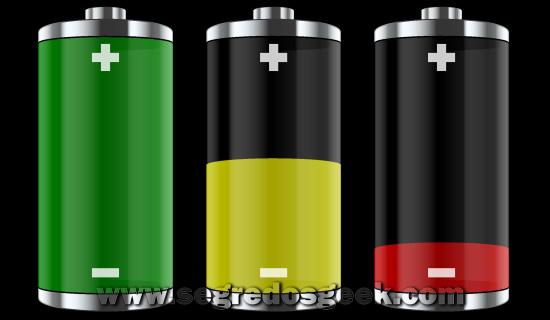nível de carga de uma bateria