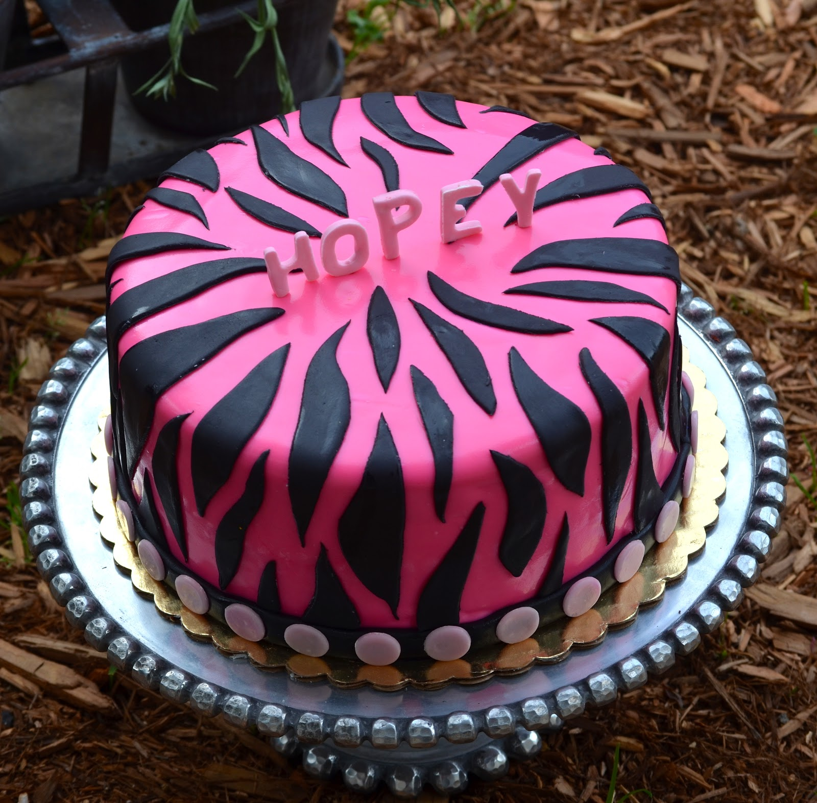 Cake With Zebra Design : Traylor Made Treats: Pink black Zebra print cake