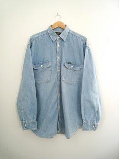 vintage mens denim shirt, vintage mens shirt, vintage mens long sleeve shirt, cutandchicvintage mens denim shirts