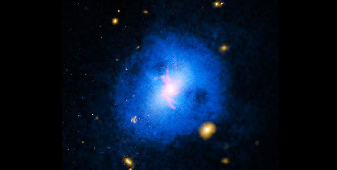 Abell 2597, shown here, is a galaxy cluster located about one billion light years from Earth. This image contains X-rays from NASA's Chandra X-ray Observatory (blue), optical data from the Hubble Space Telescope and the Digitized Sky Survey (yellow) and emission from hydrogen atoms (red) from the Walter Baade Telescope in Chile. Credit: X-ray: NASA/CXC/Michigan State Univ/G.Voit et al; Optical: NASA/STScI & DSS; H-alpha: Carnegie Obs./Magellan/W.Baade Telescope