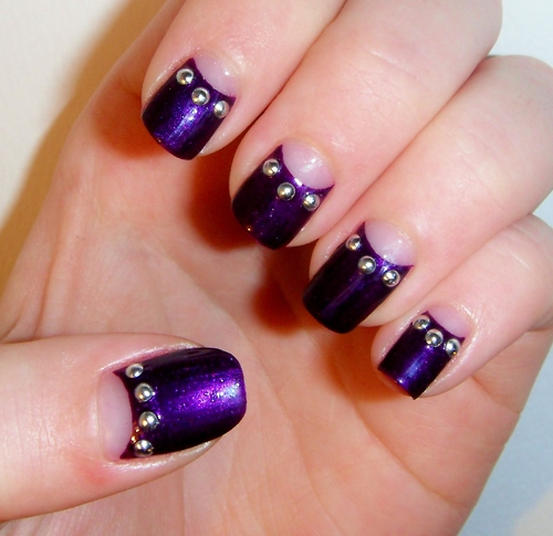 Violet Nail Art with Golden Beads